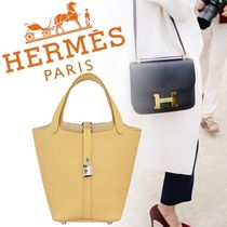 HERMES Picotin Plain Leather Party Style Home Party Ideas Totes