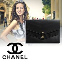 CHANEL Calfskin Studded Bag in Bag Plain Elegant Style Clutches