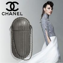 CHANEL Stripes Lambskin Chain With Jewels Elegant Style Clutches