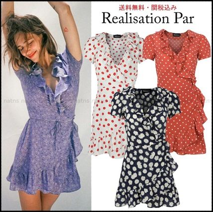 Wrap Dresses Short Flower Patterns Dots Casual Style Silk