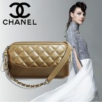 CHANEL 2WAY Chain Plain Leather Elegant Style Clutches