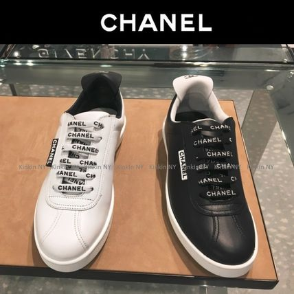 Lace-up Casual Style Bi-color Plain Leather Low-Top Sneakers