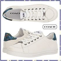 Coach Flower Patterns Plain Toe Casual Style Leather