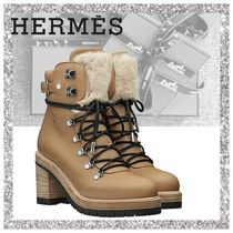 HERMES Mountain Boots Casual Style Plain Leather Chunky Heels