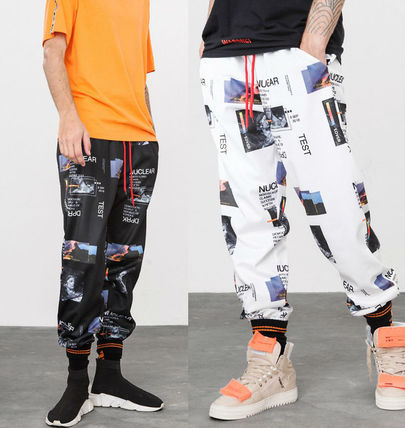 Printed Pants Monogram Unisex Street Style Cotton Oversized