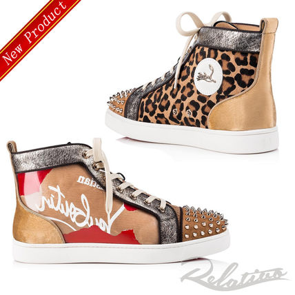 25494b14b8e1 ... Christian Louboutin Sneakers Leopard Patterns Blended Fabrics Studded  Street Style ...