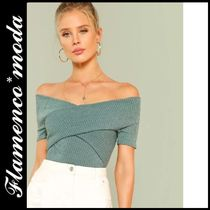 Plain Medium Elegant Style Bandeau & Off the Shoulder