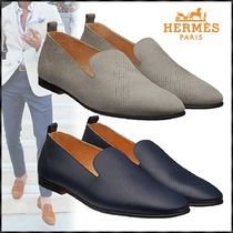 HERMES Plain Toe Loafers Blended Fabrics Plain Leather