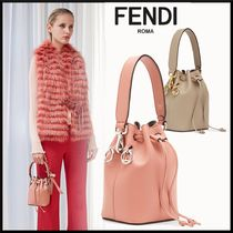 FENDI MON TRESOR Plain Leather Purses Elegant Style Shoulder Bags