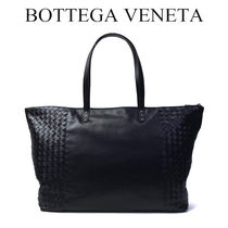BOTTEGA VENETA Unisex A4 Plain Leather Handmade Totes