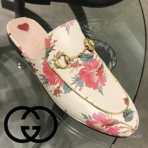 GUCCI Flower Patterns Plain Toe Leather Loafers & Slip-ons