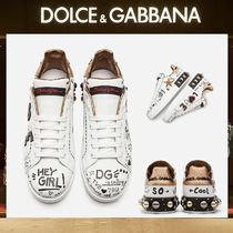 Dolce & Gabbana Heart Round Toe Casual Style Studded Leather