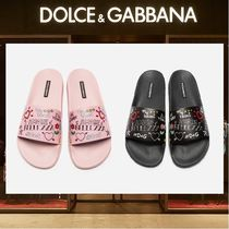 Dolce & Gabbana Heart Casual Style Leather Shower Shoes Flat Sandals