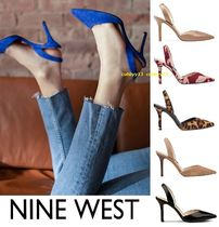 Nine West Plain Leather Pin Heels Office Style Heeled Sandals