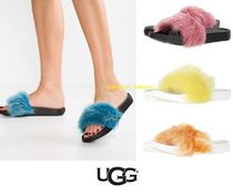 UGG Australia Open Toe Platform Casual Style Faux Fur Blended Fabrics