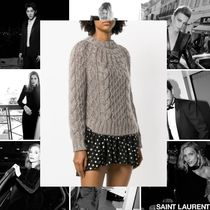Saint Laurent Crew Neck Cable Knit Casual Style Wool Street Style
