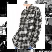 Saint Laurent Other Check Patterns Casual Style Street Style Long Sleeves