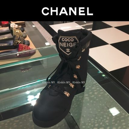 26b50f9babf ... CHANEL Lace-up Round Toe Lace-up Casual Style Plain Lace-up Boots ...