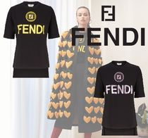 FENDI Crew Neck Cotton Short Sleeves T-Shirts