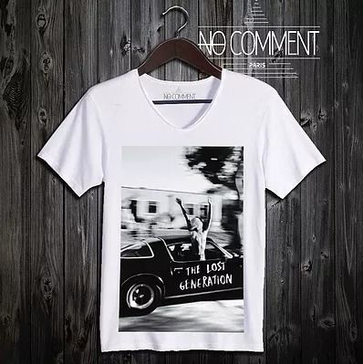 Unisex Street Style V-Neck Cotton Short Sleeves T-Shirts