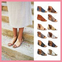 Free People Open Toe Casual Style Plain Leather Sandals