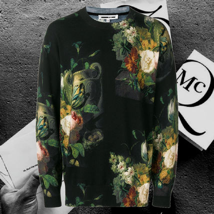 Crew Neck Flower Patterns Unisex Wool Street Style