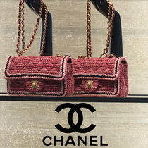 CHANEL Calfskin Blended Fabrics 2WAY Chain Crossbody Shoulder Bags