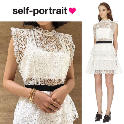 Short Flower Patterns Sleeveless Flared Party Style Lace