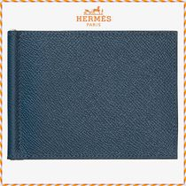 HERMES Unisex Blended Fabrics Plain Leather Folding Wallets