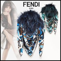 FENDI Flower Patterns Silk Blended Fabrics