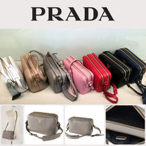 PRADA Casual Style Plain Leather Shoulder Bags