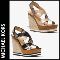 Michael Kors Open Toe Casual Style Plain Leather Python