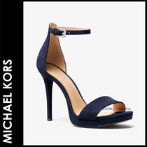 Michael Kors Open Toe Suede Plain Pin Heels Elegant Style Heeled Sandals