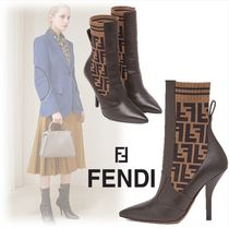 FENDI Monogram Leather Elegant Style Ankle & Booties Boots