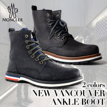 MONCLER Plain Toe Plain Leather Chukkas Boots