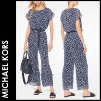 Michael Kors Flower Patterns Casual Style Long Short Sleeves Dresses