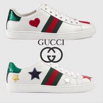 GUCCI Ace Heart Star Plain Toe Blended Fabrics Street Style Leather