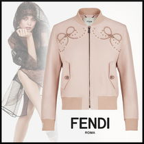 FENDI Short Leather With Jewels Elegant Style Varsity Jackets