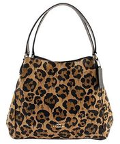 Coach EDIE Leopard Patterns Casual Style Leather Totes