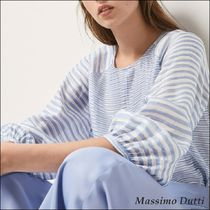 Massimo Dutti Stripes Linen Puffed Sleeves Medium Shirts & Blouses