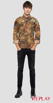 REPLAY Button-down Camouflage Street Style Long Sleeves Cotton