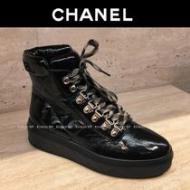 CHANEL Platform Round Toe Lace-up Plain Leather Elegant Style