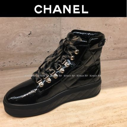 CHANEL Ankle & Booties Platform Round Toe Lace-up Plain Leather Elegant Style 2