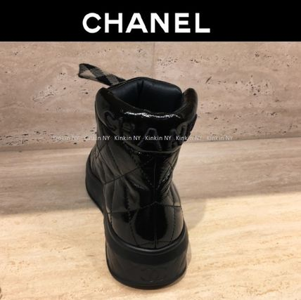 CHANEL Ankle & Booties Platform Round Toe Lace-up Plain Leather Elegant Style 3