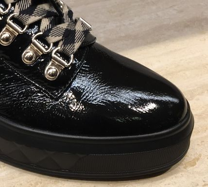 CHANEL Ankle & Booties Platform Round Toe Lace-up Plain Leather Elegant Style 4