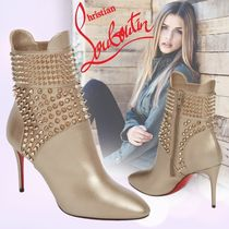 Christian Louboutin Studded Plain Leather Pin Heels Ankle & Booties Boots