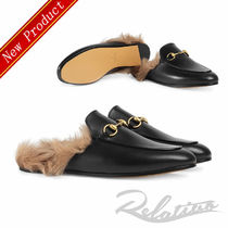 GUCCI Princetown Round Toe Plain Leather Elegant Style Slippers Slip-On Shoes