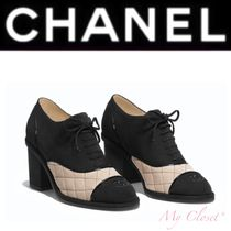 CHANEL Other Check Patterns Suede Street Style Plain Block Heels