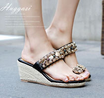 Handmade Party Style With Jewels Platform & Wedge Sandals