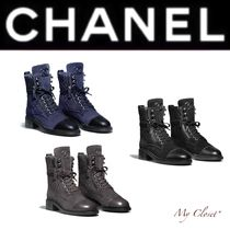 CHANEL Other Check Patterns Lace-up Casual Style Suede Street Style